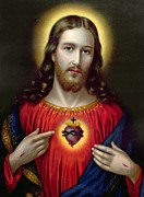 Mixed Media  Posters - The Sacred Heart of Jesus Poster by English School