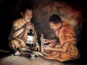 Buddhist Pastels - The Sacred Scriptures by Vongduane Manivong