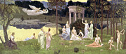 Calliope Framed Prints - The Sacred Wood Cherished by the Arts and the Muses Framed Print by Pierre Puvis de Chavannes