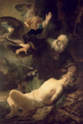 Sacrificial Painting Posters - The Sacrifice of Abraham Poster by Rembrandt