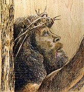 Jesus Pyrography Posters - The Sacrifice Poster by Richard Jules