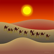 Sahara Sunlight Framed Prints - The Saharan Sun Framed Print by Walter Neal