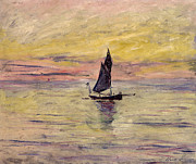 Sunset Seascape Framed Prints - The Sailing Boat Evening Effect Framed Print by Claude Monet