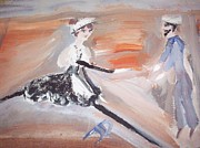 Ballet Dancers Painting Posters - The sailor and the french maid Poster by Judith Desrosiers