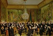 Chandelier Posters - The Salon of Alfred Emilien at the Louvre Poster by Francois Auguste Biard