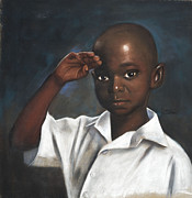 Black Art Pastels Prints - The Salute Print by L Cooper