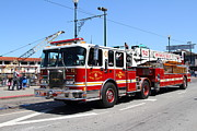 Fighters Photos - The San Francisco Fire Department Fire Engine At Fishermans Wharf . 7D14207 by Wingsdomain Art and Photography