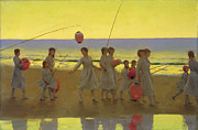 Chinese Lanterns Framed Prints - The Sand Bar  Framed Print by Thomas Cooper Gotch