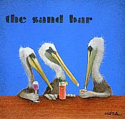 Pelicans Posters - The Sand Bar... Poster by Will Bullas