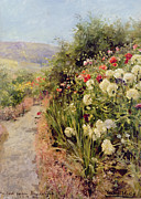 Path Painting Prints - The Sand Garden Ballaterson Isle of Man Print by Henry John Yeend King