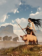 Huntress Framed Prints - The Savage Hunting Pig Framed Print by Daniel Eskridge