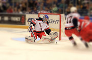 Hockey Photos - The Save by Karol  Livote