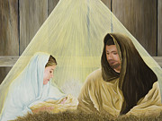 Manger Posters - The Savior is Born Poster by Mary Ann King