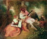 Rococo Framed Prints - The Scale of Love Framed Print by Jean Antoine Watteau