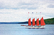 Flags Flying Prints - The Schooner Margaret Todd Print by Betty LaRue