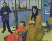 Painter Art Paintings - The Schuffenecker Family by Paul Gauguin