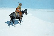 Snow-covered Landscape Painting Framed Prints - The Scout Friends or Foes Framed Print by Frederic Remington