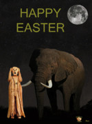 South African Mixed Media Prints - The Scream World Tour African Elephant Happy Easter Print by Eric Kempson