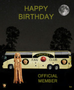 Batsman Posters - The Scream World Tour Cricket  tour bus Happy Birthday Poster by Eric Kempson