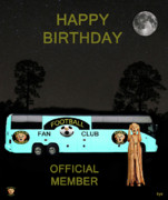 Football Mixed Media - The Scream World Tour Football tour bus Happy Birthday by Eric Kempson
