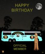 The Scream World Tour Football Tour Bus Happy Birthday Print by Eric Kempson