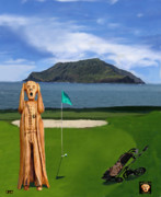 Caddies Framed Prints - The Scream World Tour Golf  Framed Print by Eric Kempson