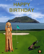 Caddies Framed Prints - The Scream World Tour Golf  Happy Birthday Framed Print by Eric Kempson