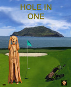 Pga European Tour Prints - The Scream World Tour Golf  Hole in one Print by Eric Kempson