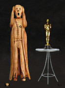 Olive Wood Sculpture Posters - The Scream World Tour Oscars Poster by Eric Kempson