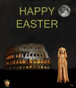 Michelangelo Mixed Media Prints - The Scream World Tour Rome Happy Easter Print by Eric Kempson