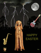 The Scream Mixed Media Prints - The Scream World Tour  Scream Rocks Happy Easter Print by Eric Kempson