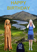North Wales Mixed Media - The Scream World Tour Snowdon with Jill Beddoes birthday by Eric Kempson