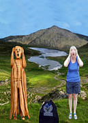 National Parks Mixed Media Framed Prints - The Scream World Tour Snowdon with Jill Beddoes Framed Print by Eric Kempson