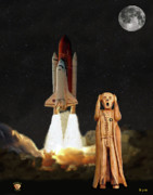 Telescope Mixed Media Framed Prints - The Scream World Tour Space Shuttle Framed Print by Eric Kempson