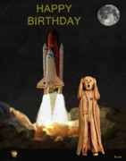 Kennedy Space Center Mixed Media Prints - The Scream World Tour Space Shuttle Happy Birthday Print by Eric Kempson