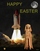 Telescope Mixed Media Framed Prints - The Scream World Tour Space Shuttle Happy Easter Framed Print by Eric Kempson