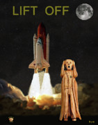 Space Shuttle Program Mixed Media Posters - The Scream World Tour Space Shuttle Lift Off Poster by Eric Kempson