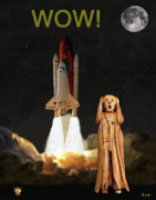 Space Shuttle Program Mixed Media Posters - The Scream World Tour Space Shuttle Wow Poster by Eric Kempson