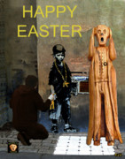 Political  Mixed Media - The Scream World Tour street art Happy Easter by Eric Kempson