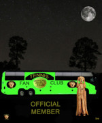 Backhand Mixed Media Framed Prints - The Scream World Tour Tennis tour bus Framed Print by Eric Kempson