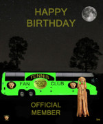 Hardcourt Posters - The Scream World Tour Tennis tour bus Happy birthday Poster by Eric Kempson