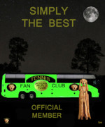 Backhand Mixed Media Framed Prints - The Scream World Tour Tennis tour bus Simply the best Framed Print by Eric Kempson