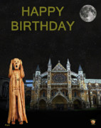 Buckingham Palace Mixed Media - The Scream World Tour Westminster Abbey Happy Birthday by Eric Kempson