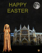 Buckingham Palace Mixed Media - The Scream World Tour Westminster Abbey Happy Easter by Eric Kempson