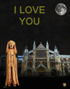Kate Middleton Mixed Media Framed Prints - The Scream World Tour Westminster Abbey I Love You Framed Print by Eric Kempson
