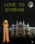 Kate Middleton Mixed Media Framed Prints - The Scream World Tour Westminster Abbey Love To Scream Framed Print by Eric Kempson