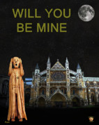 Kate Middleton Mixed Media Framed Prints - The Scream World Tour Westminster Abbey Will You Be Mine Framed Print by Eric Kempson