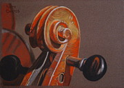 Violin Pastels - The Scroll and Pegs by Keith Gantos