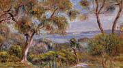 Hills Paintings - The Sea at Cagnes by Pierre Auguste Renoir