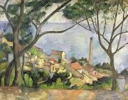 Provence Village Painting Posters - The Sea at l Estaque Poster by Paul Cezanne